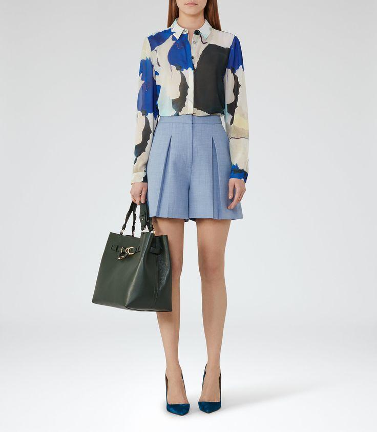 Miller Short  Light Blue Pleated Culotte Shorts - REISS