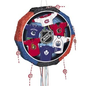 NHL Fans Pull Pinata. The NHL Fans Pinata is a Drum Pull Pop-Out Pinata, featuring the jerseys of the Canadian National Hockey League teams.