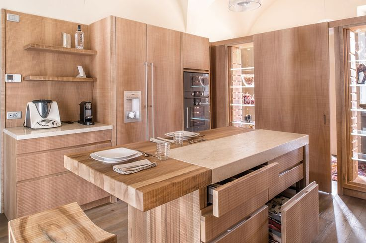 HABITO by Giuseppe Rivadossi national walnut kitchen with island and stone countertop. #wood #design