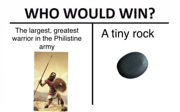 Who would win Goliath or a stone meme  #Christian #memes