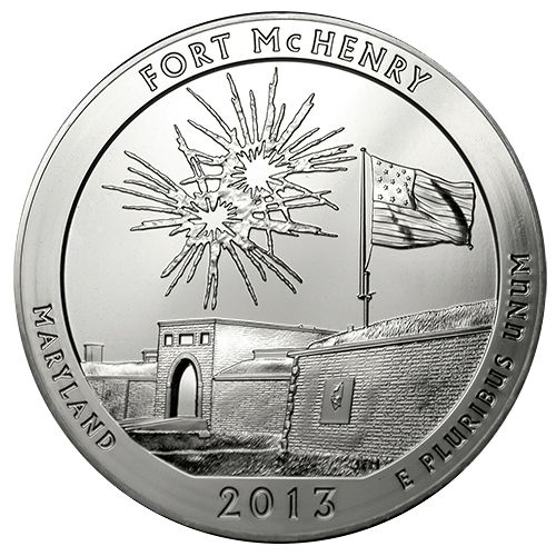 America the Beautiful - 5 oz  Fort McHenry Silver Quarters  Between 2010 - 2021, The United States Mint plans to issue 56 pure Silver Quarter-Dollar Coins. Each coin will feature designs honoring historic National Parks and National Sites from all 50 United States, the District of Columbia, American Samoa, Guam, Northern Mariana Islands, Puerto Rico, and the U.S. Virgin Islands.