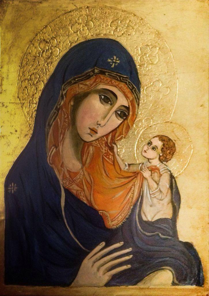 Vierge et enfant Artiste Lucette Matar Peinture à l'œuf et feuilles or