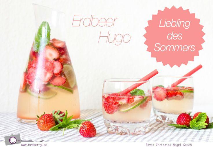 Rezept: Erdbeer-Hugo. /(mit und ohne Alkohol)   Sommer-Drink, Erdbeer-Bowle