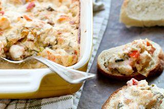 Gumbo Dip-  TO VEGANIZE- vegan parm, tofutti cream cheese, no shrimp-maybe mushrooms?