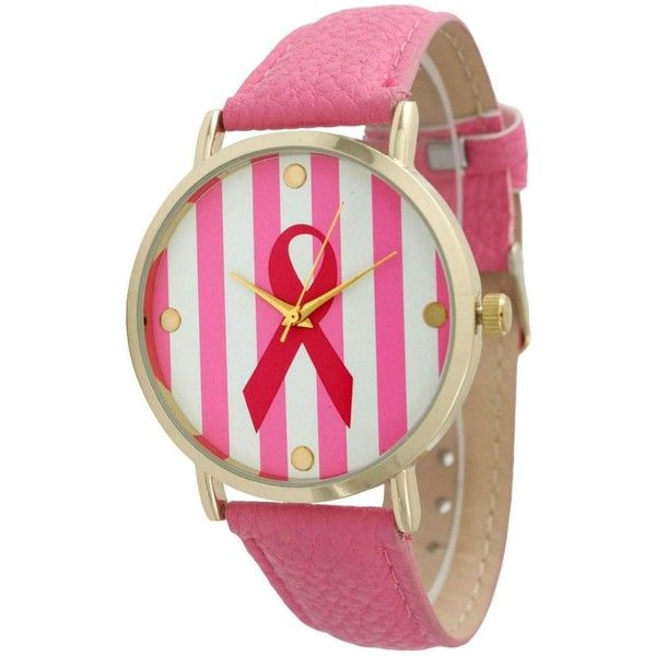 Olivia Pratt Women's Striped Breast Cancer Ribbon Watch (€30) ❤ liked on Polyvore featuring jewelry, watches, pink, analog watches, wide strap watches, wide watches, pink watches and pink dial watches