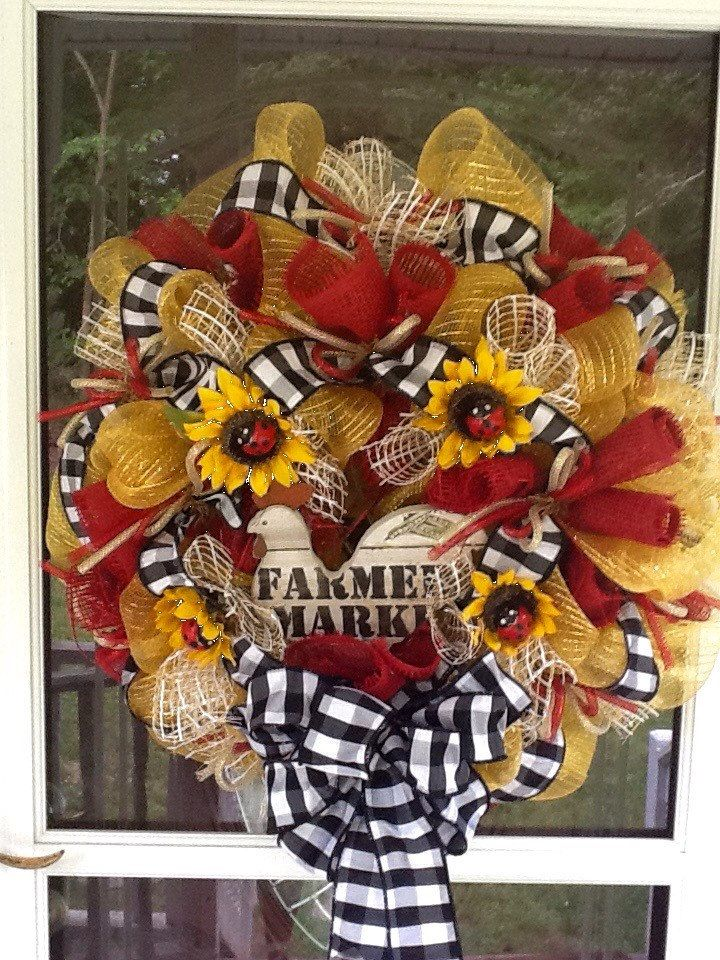 A personal favorite from my Etsy shop https://www.etsy.com/listing/233261120/summer-rooster-wreath