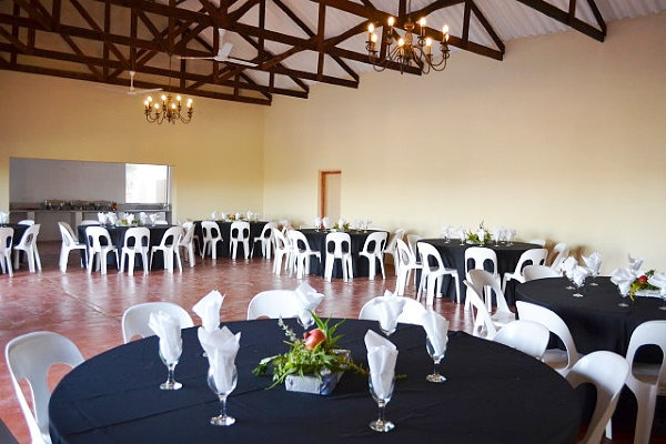 FUNCTION VENUE/HALL  Our venue can seat 100 guests – 10 round tables with 10 people per table. It's equipped with ceiling fans and a big built-in fireplace for cosy winter functions.