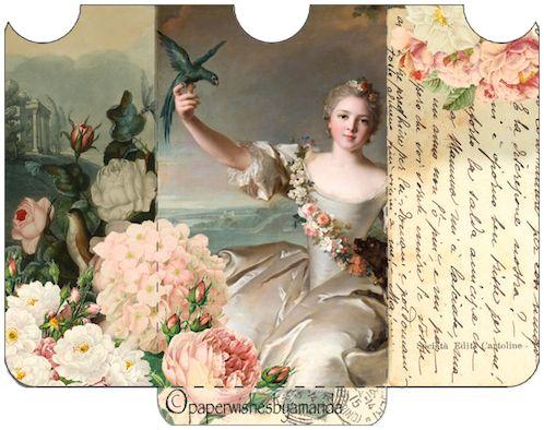 Free Victorian library pocket envelope printable.