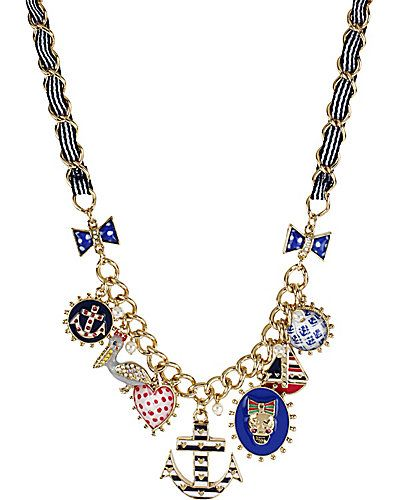 Betsey Johnson - ANCHOR AND SKULL NECKLACE NAVY. Jewelry