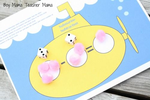 Free printable Submarine Subtraction Kindergarten busy bag.