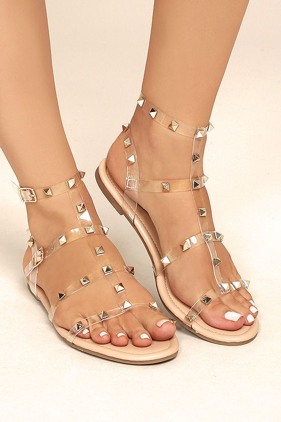 35b00b85fdbd7 Every trendsetter babe needs the Josie Nude Lucite Studded Gladiator Sandals  in her closet! A peep-toe upper is formed by clear
