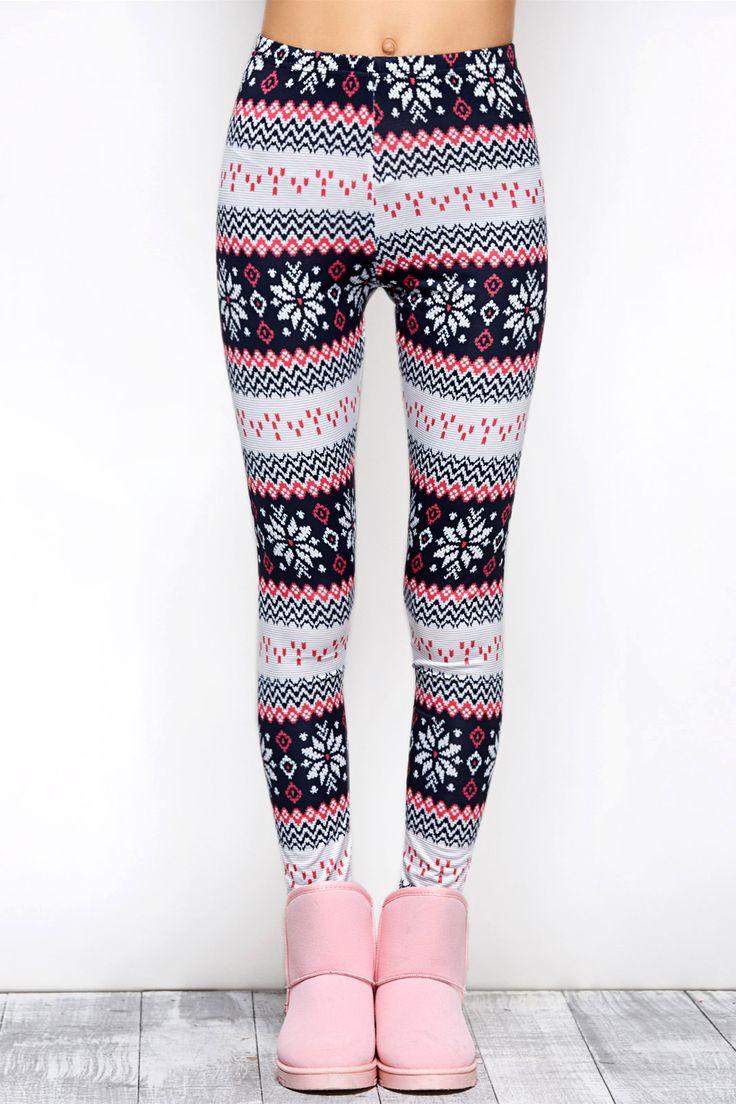 $10.07 Tight Snowflake Print Christmas Leggings