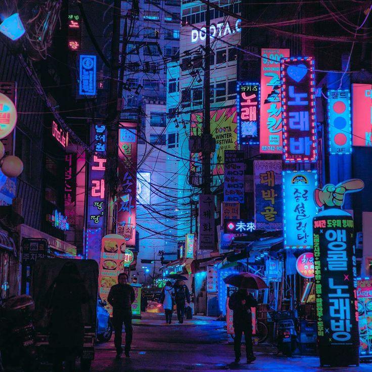 Cyberpunk, Seoul, South Korea. Neon nights. Photog…