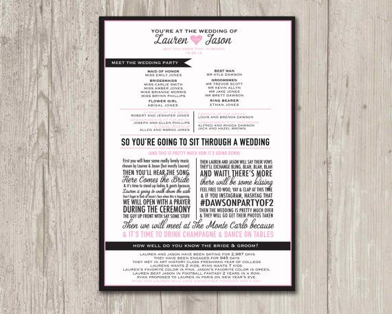 Wedding Program | Funny Wedding Program, So you're going to sit through a wedding program | Printable