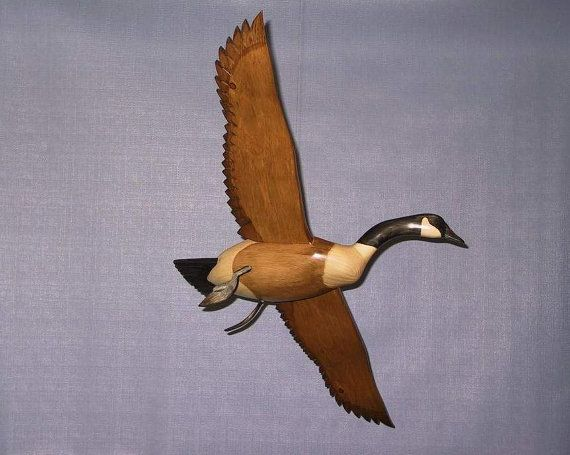 Hand carved banking Canada Goose decoy carving R.Kelly