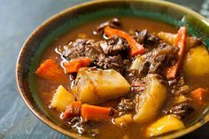 Lamb Shank Stew with Root Vegetables ~ Lamb stew made with lamb shanks, parsnips, carrots, rutabagas, and turnips. ~ SimplyRecipes.com