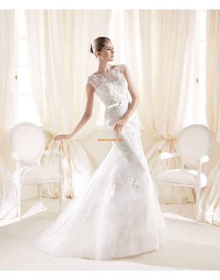 Traîne moyenne Col bateau Sans manches Robes de mariée de luxe