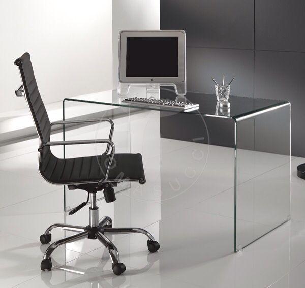 art. 0751 mod. BEND scrivania porta computer in vetro sp. 12 mm.