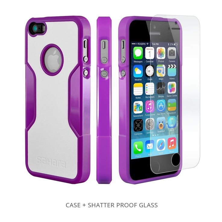 Amazon.com: iPhone 5s Case, Purple White With [Tempered Glass Screen = Best LCD Protector] [Patented Lens Hood = Better Pictures] - Slim iPhone 5 Cases by Sahara Case: Cell Phones & Accessories