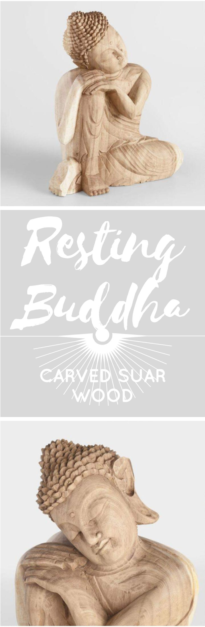 Carved Suar Wood Resting Buddha at Cost Plus World Market #ad #buddha #restingbuddha #meditate #meditation #peace #indonesia #homedecor #decor #hometrends #homestyle #accents