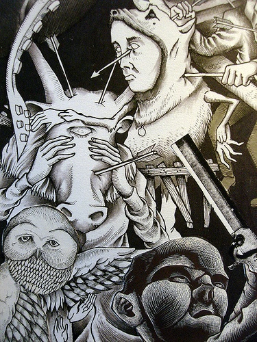 Dark Was The night (detail).    In this shot we see one of the owl fellows from the Song: Ohia album, the fellow from the Kitchen Cynics album, the creature from the Brown Bird Album, and one of the folks from a Kid Dakota album.    The point of this piece was to show a bunch of different creatures from album covers I have creating fighting each other. I guess they are more just losing to each other here but there you have it.
