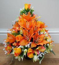 162 best grave stone decoration images on pinterest cemetery artificial silk flower arrangement grave pot orange yellow rose alstro lillies mightylinksfo