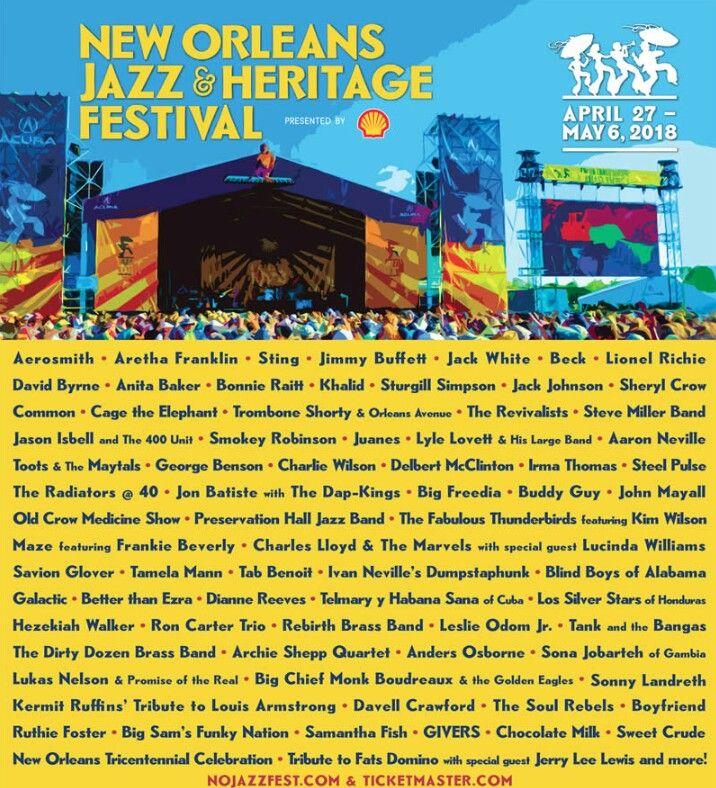 New Orleans Jazz Fest 2018 >> New Orleans Jazz Heeitage Festival 2018 New Orleans Jazz