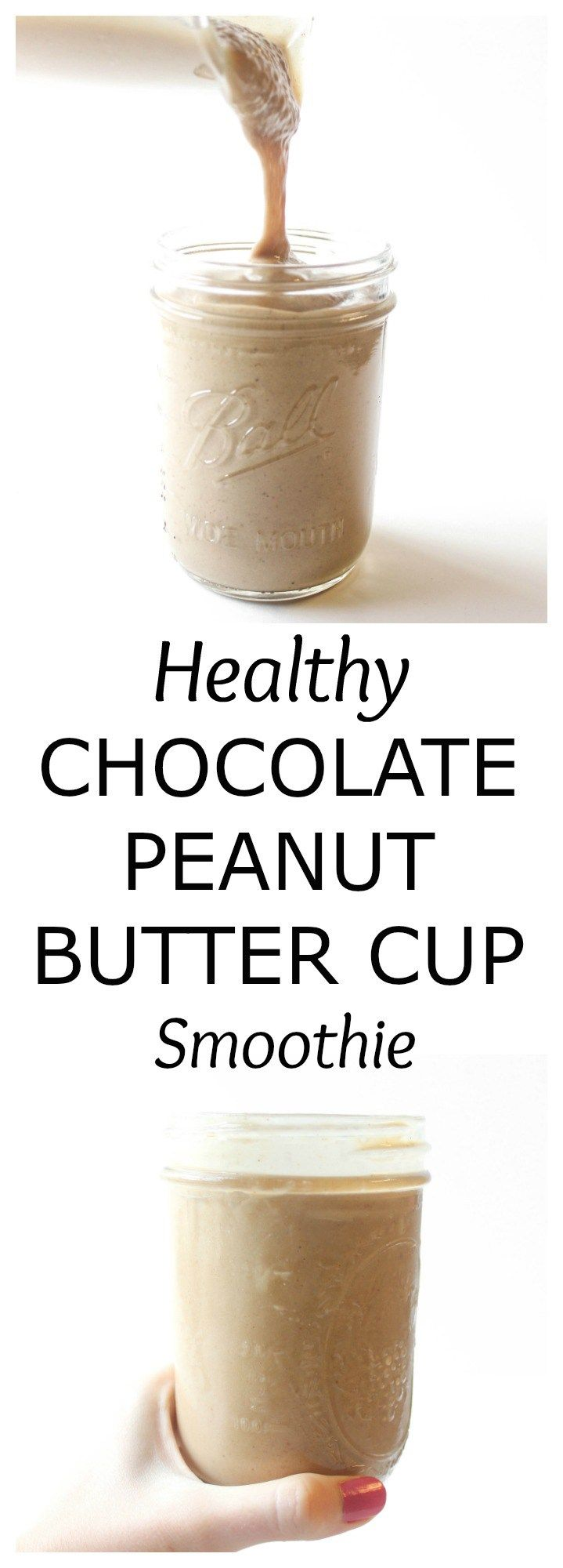 An easy + healthy chocolate peanut butter cup protein smoothie that tastes like a milkshake!