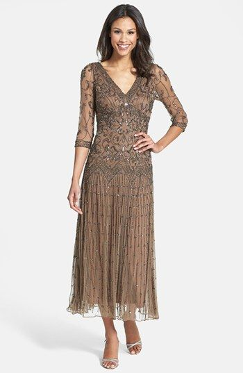 Pisarro Nights Beaded Mesh Dress (Regular & Petite) available at #Nordstrom. Mother of the bride dress.