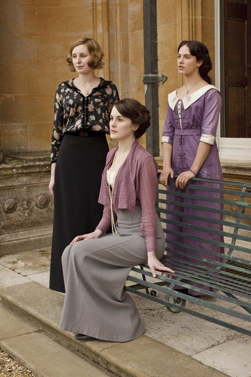 Laura Carmichael as Lady Edith, Michelle Dockery as Lady Mary and Jessica Brown Findlay as Lady Sybil in Downton Abbey (TV Series, 2010).