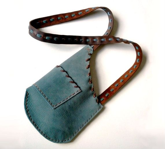 Cross Body Handmade Hunter's Pouch Teal Brown Leather Bag Handmade Rustic Modern