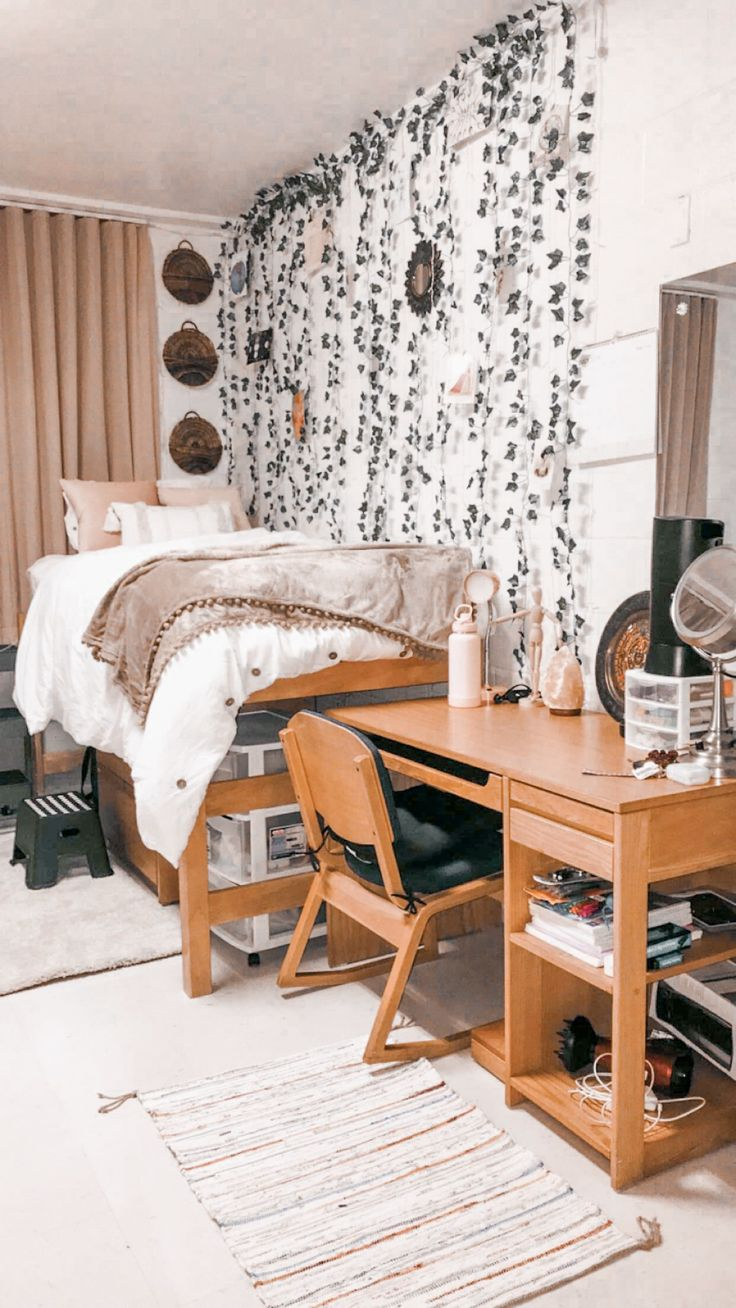 Aesthetic Dorm Room: College Dorm Room; Boho; Pink; Brown; Greenery; University