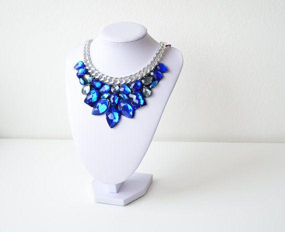 Silver Epic Blue Rhinestone Gem Crystal Statement by GemsOver