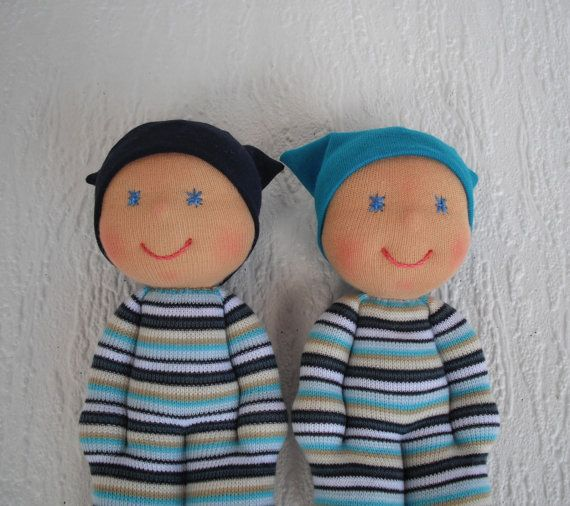 Rag doll for twin baby boys Waldorf pocket by WaldorfDollsByIren