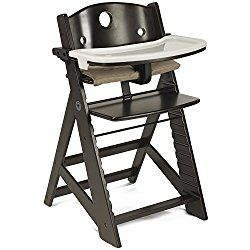 Espresso, Wooden Baby Highchair with Adjustable Foot & Seat Plate