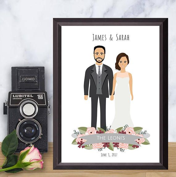 Illustrated Wedding portrait Personalized Drawing Custom - save the forest Illustration