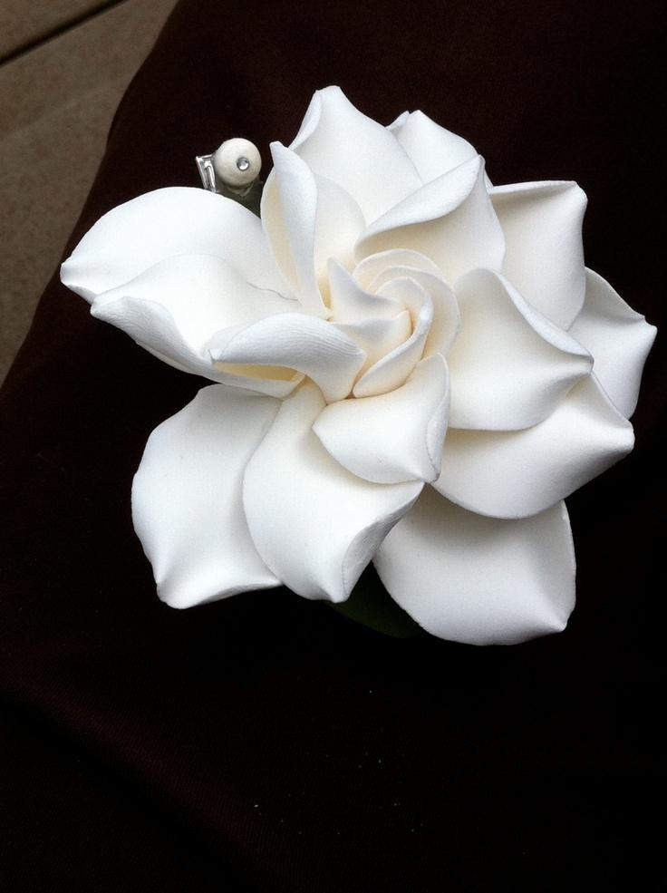 White Gardenia Hair Clip -i.
