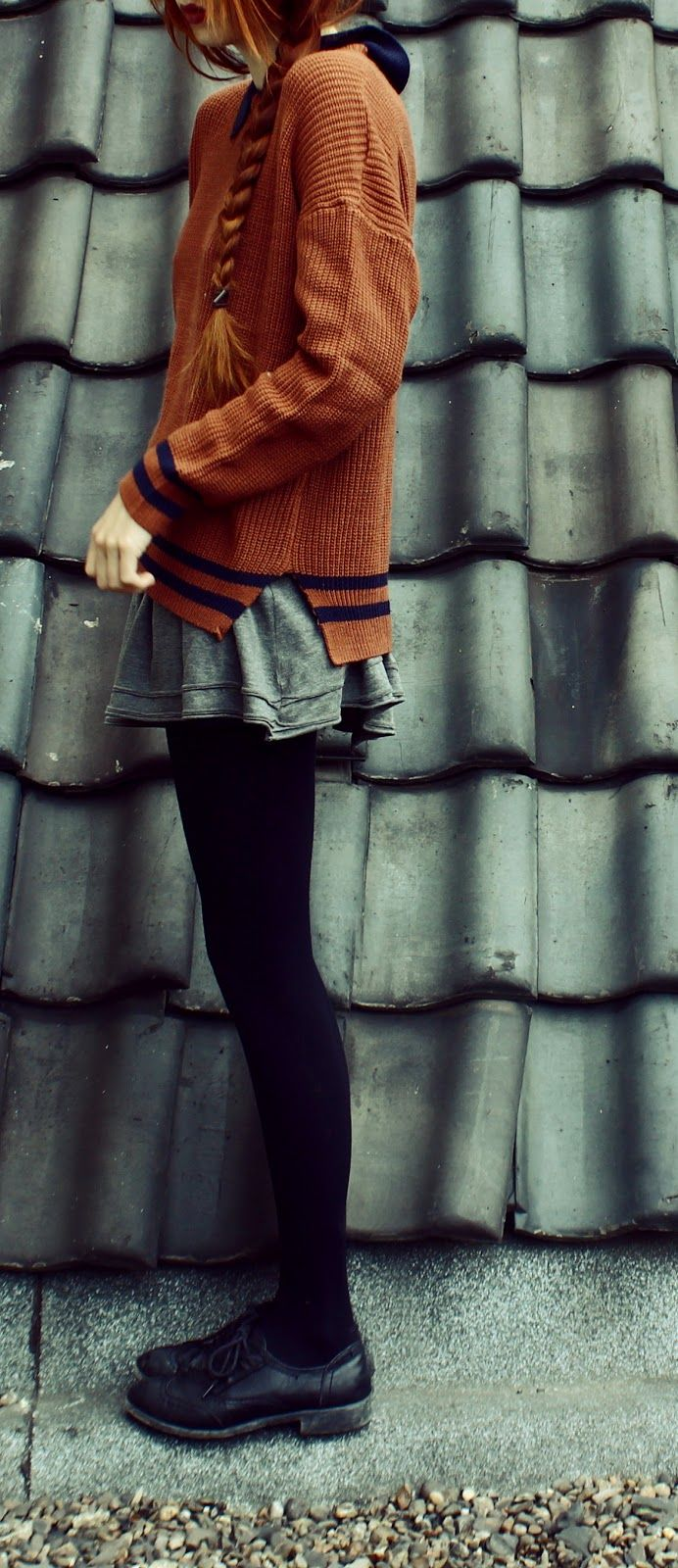 Fall outfit - Oversized persimmon /rusty colored sweater, skirt, black tights, and black shoes  #streetstyle