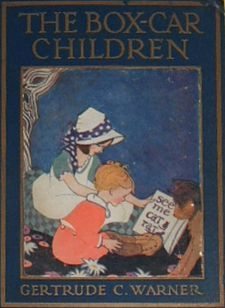 """The Box Car Children, originally published 1924. """"... the novel The Boxcar Children tells the story of four orphaned children, Henry, Jessie, Violet, and Benny. They create a home for themselves in an abandoned boxcar in the forest."""""""