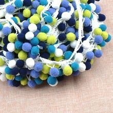 2 yard high quality colorful PP ball elastic lace tassel trim fringe ribbon for sewing handmade crafts decoration DIY 15mmcp1542(China)
