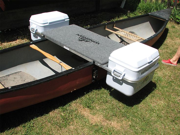 An innovative canoe system that acts as outrigger, camp table, and cooler holster