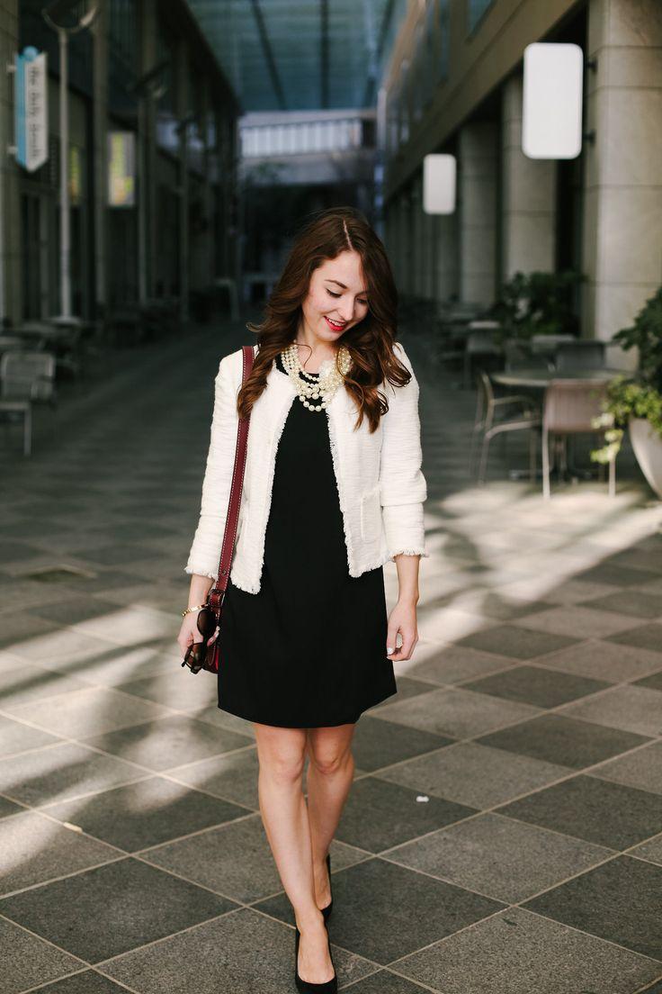 Cream blazer + black dress