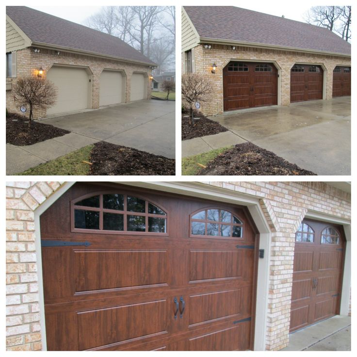 171 best before and after exterior makeovers images on for Carriage style garage doors for sale
