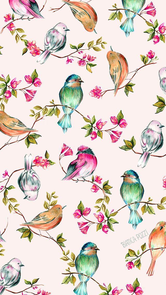 161807 1 Post Jpg 640 1136 Amazing Pretty Wallpapers In 2020 Pretty Wallpapers Watercolor Bird Pattern Wallpaper