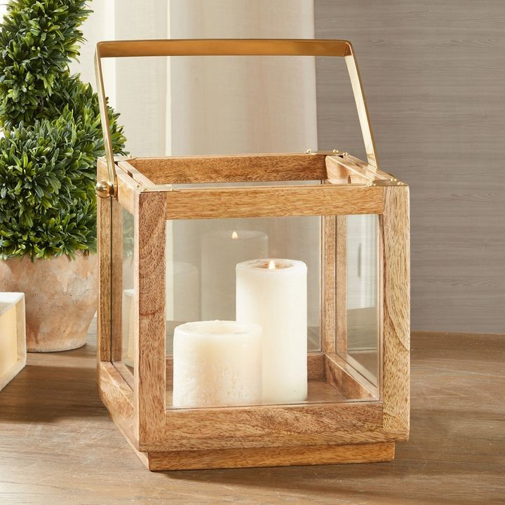 Madison Park Parker Medium Wood Lantern Table Decor