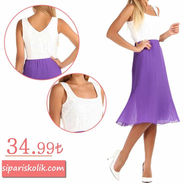 Üst Dantel Detay Pileli Elbise - Mor