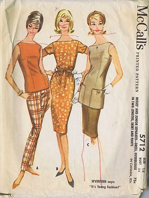 Vintage 60s Dress Over-blouse in Two Lengths Skirt and Pants Pattern    Three piece ensemble--  Chemise Dress with French Darts for shape.  Features short set-in sleeves and self fabric tie belt.  Long Torso Tunic with bateau neckline with buttoned pockets along the bottom edge.  Slim tapered Pants with darts and waistband.  Short sleeved bateau neckline fitted shell.: French Darts, Fabrics Ties, Chemises Dresses, Bateau Neckline, 60S Dresses, Shorts Sleeve, Pants Patterns, Patterns Three, Buttons Pockets