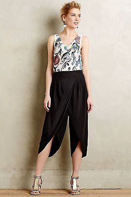 Anthropologie Cropped Tulip Trousers Size 4, Black Pants Crops By Elevenses