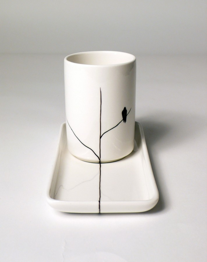 Black Bird on Tree Branch Cup and Saucer