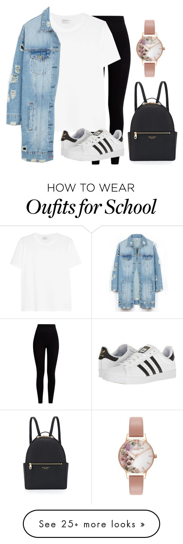 """Back to school"" by maryamlovesbeauty on Polyvore featuring Pepper & Mayne, Yves Saint Laurent, LE3NO, Henri Bendel, adidas and Olivia Burton"